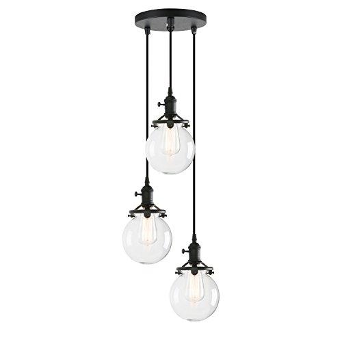 Pathson Industrial Island Pendant Lights, 3-Lights Dining Pendant Lighting with Globe Glass, Vintage Hanging Lamp...