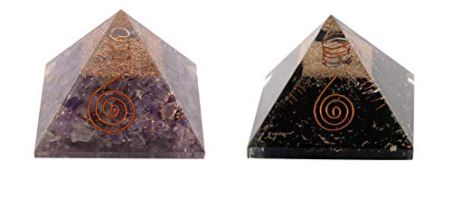 Aatm Combo Energy Generator Amethyst and Black Tourmaline Orgone Pyramid for EMF Protection Chakra Healing Meditation with Crystal and Copper (3 and 3 Inches)