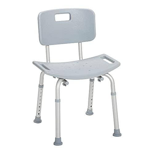 Drive Medical RTL12202KDR Handicap Bathroom Bench with Back, Grey