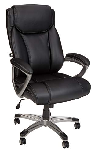 Amazon Basics Big & Tall Executive Computer Desk Chair, Black with Pewter Finish