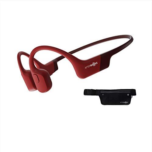 AfterShokz Aeropex Open-Ear Wireless Waterproof Bone Conduction Sports Running Headphones,Solar Red