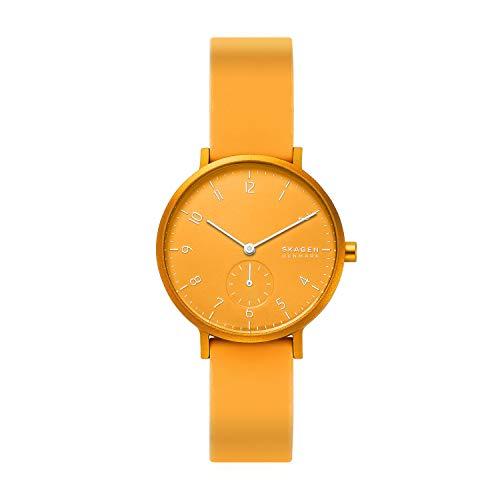 Skagen Unisex Erwachsene Analog Quarz Uhr mit Silikon Armband SKW2808