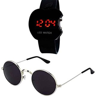Younky Combo Analogue Watches for Men's & Boy's With Aviator Sunglasses for Men's & Women's – (CM221|101 Blue Watch Black Sunglass)