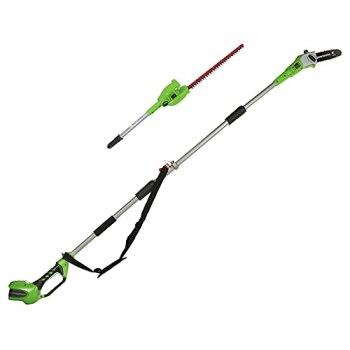Greenworks Tools Taille-Haie Télescopique à Batterie 2 en1 G40PSH (Li-Ion 40 V 51cm/20cm Longueur de Lame 18 mm Épaisseur de Coupe 240 cm Perche Télescopique sans Batterie ni Chargeur)