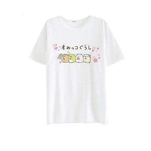 Himifashion Kawaii Corner Comic Latte Seta Maniche Corte T-Shirt Donna bianco M