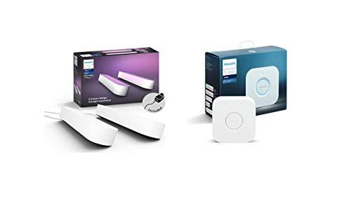 Philips Play Barra Regulable, Compatible con Apple HomeKit y Google Home, luz Blanca y de Colores, Blanco + Hue - Puente de conexión controlable vía WiFi