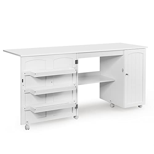 Giantex Folding Sewing Table, Multifunction Large Sewing Craft Cart with Storage Shelves and Lockable Casters, Home Apartment Space-Saving Sewing Cabinet for Small Spaces (White, 62.5''x20''x29'')