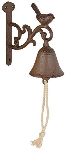 Esschert Design Türglocke Vogel S aus Gusseisen und Baumwollkordel,7,5 x 14,4 x 15,5 cm