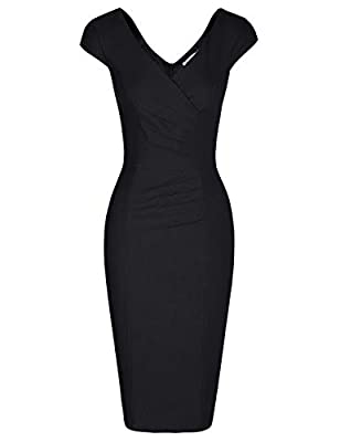 CLASSIC VINTAGE 50s 60s Style,Wrap Double V-Neck,Cute Cap-sleeve,Ruched Dress This dress is absolutely amazing and it fits your curves perfectly Comfy little stretchy fabric,hand wash only Great for Formal,Wedding Bridesmaid,Evening Party and Work Ev...