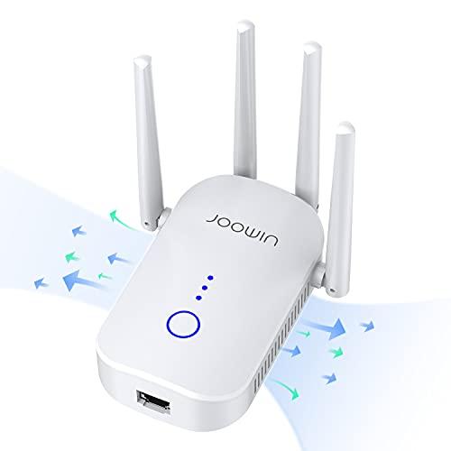 JOOWIN Répéteur WiFi 1200 Mbps Amplificateur WiFi, WiFi Extender Support Double Bande 5,GHz et 2,4 GHz WiFi Booster 3 en 1 Mode AP / Répéteur / Routeur, 1 Port Ethernet