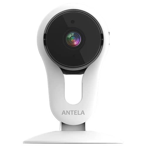 Telecamera Wi-Fi Interno 1080P, ANTELA Videocamera Fissa di Sicurezza Domestica Compatibile con Alexa ,Telecamera IP per Bambini con Sensore Rilevamento Movimento, Audio Bidirezionale,Visione Notturna