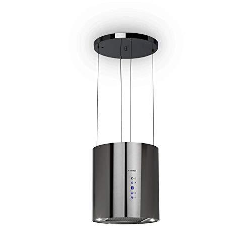 Klarstein Barett - Cappa Aspirante ad Isola, 35 cm, 190 Watt, Potenza Aspirante Fino a 560 m/h, 3 Livelli di Potenza, Illuminazione LED, Acciaio Inox, Argento