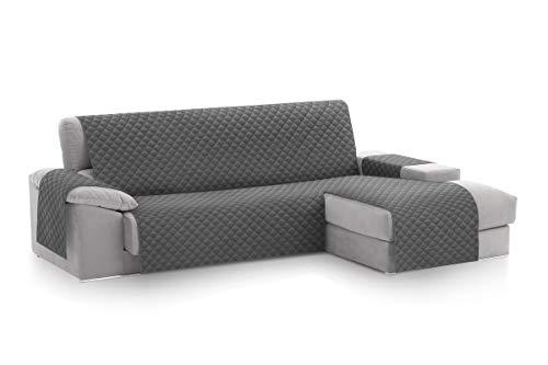 Textilhome - Copridivano Salvadivano Chaise Longe Malu - Color Grey -BRACCIOLO Destro - Protezione...