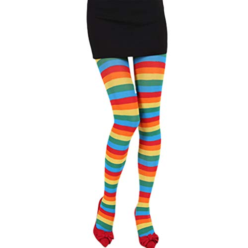 ZOOMY Mujeres Niñas Medias de Rayas de Color de Contraste Medias Opacas Pantimedias de pie de Longitud Completa para Navidad Disfraz de Cosplay de Halloween - Arco Iris
