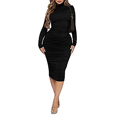 Material: Polyester + Spandex. Soft breathable and stretchy Features: solid color, high turtleneck, long sleeve, tight slim fit waistline, ruched bandage bodycon dress, midi length Style: Women Sexy Long Sleeve Mock Neck Basic Ruched Bodycon Dress Ni...