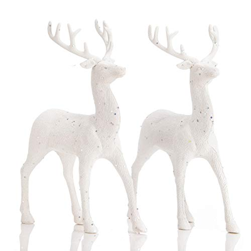 "ARCCI Standing Reindeer Decorations Christmas Deer Figurines, 8.6"" x 12"" White Reindeer Figure for Table top Shelf Office Desk Winter Decor - Pack of 2"