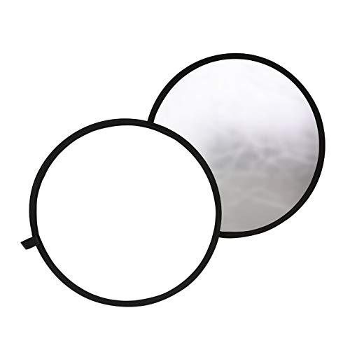 TARION 撮影用 丸レフ板 直径60cm 折りたたみ可能 銀&白 拭き布付き