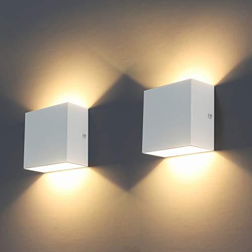 Applique da parete LED, 2Pcs Moderna 6W Lampada da Parete Interno 3000K su e gi per lampada da...