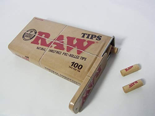 RAW/ロウ NATURAL UNREFINED PRE-ROLLED TIPS 100個入り チップ ローチ フィルター ケース入り [並行輸入品]