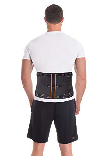 Cintura lombare di sostegno - Fascia Schiena Elastica Lombare - Cintura lombare terapeutica-4 rigide stecche Taglia Large pancia 106-115 cm Nero