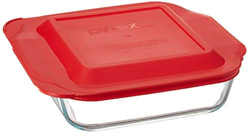 """Pyrex Get Dinner Away Large Handle 8"""" x 8"""" Square Dish. Making it Easy to Monitor Casserole Cooking and Brownie Baking from a, 4, Red 8"""""""