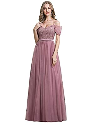 Fully lined, no built-in bras, low stretch Features: V-neck, short sleeve, lace, tulle, beading, A-line, off-shoulder, long party dress, maxi bridesmaid dress, evening party dress Classic V-neck design with short sleeve, the beadings make you look ch...