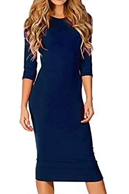 CURVE-HUGGING FIT: Flaunt your curves in this go-to fitted sexy bodycon midi dress. Fits snuggly in all the right places while maintaining all-day comfort. Order true to size for a sexy bodycon fit or a size up for a relaxed fit that modestly accentu...