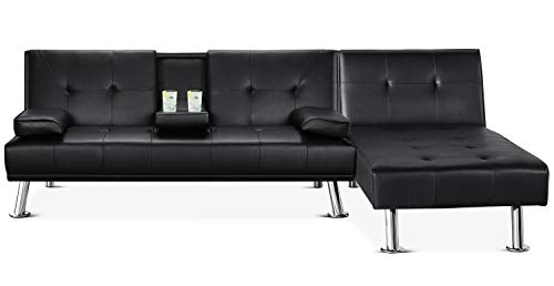 YAHEETECH Faux Leather Sectional Sofa Couch Sectional Living Room Furniture Set Convertible Futon Sofa Beds with Chaise Lounge Black