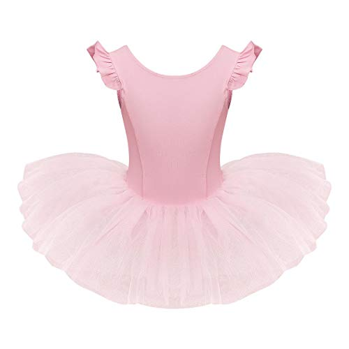 IDOPIP Girls Ruffle Sleeves Ballet Dance Dress Tutu Skirted Leotard for Toddler Kids Ballerina Dress Gymnastics Dancewear Costume Pink 5-6 Years