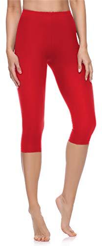 Merry Style Leggings 3/4 Pantaloni Capri Donna MS10-199 (Rosso, XXL)