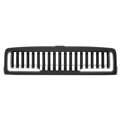 DNA Motoring GRF-LB-005-MBK-2 LED DRL Matte Vertical Front Bumper Grille Grill Replacement For 94-02 Dodge Ram