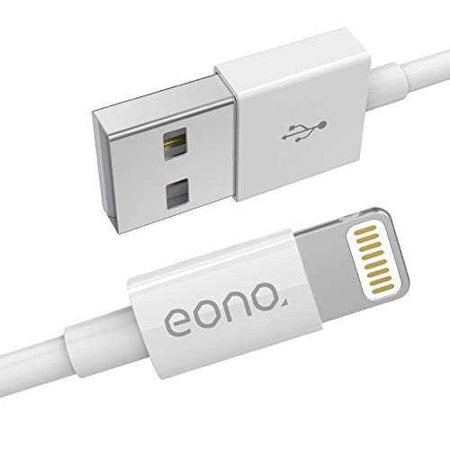 Eono Cavo Lightning Cavo iPhone - [Certificato MFi Apple] Ricarica per iPhone Cavo di Ricarica Rapida USB per iPhone XS Max X XR 8 7 6s 6 Plus SE 5 5s 5c, iPad, iPod - 3.3ft/1m White