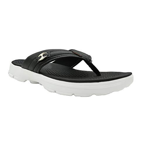 KazarMax XXIV Mens' Black Buckle Memory Foam EVA Thong Slippers/Flip-Flop (Made in India) (Size : 42)