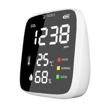 TACKLY Mini Détecteur co2 portable - Capteur co2 maison - Appareils mesurant qualité air intérieur - Mesure et competeur dioxyde de carbone - Hygromètre avec mesure d'humidité et thermomètre