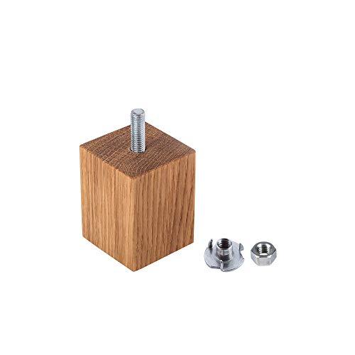 Gambe per mobili in vero legno di quercia, 45 x 45 mm, gambe per divano in legno, altezza 6 cm, forma rettangolare, 4 cm