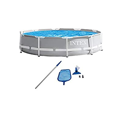 SUMMERTIME FUN: The Intex 10ft x 30in metal frame above ground pool set is engineered for strength and to help you beat the heat all summer long for ages 6 and up and fits up to 4 people STAYS CLEAN: The pool comes with an Intex 330 GPH filter pump a...