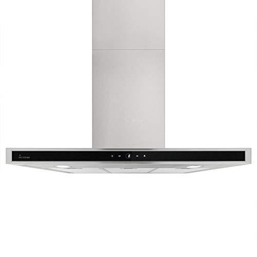 Cappa professionale aspirante da cucina (90 cm, acciaio inox, vetro nero, silenziosa, 4 gradini,...