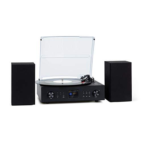 AUNA Connect Vinyl - Smart Radio con giradischi, 40 W, 2 altoparlanti, Internet/DAB/DAB+/FM,...