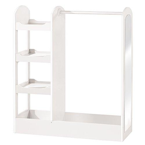 roba Garderobe, Kindermöbel mit Kleiderständer, Regal, Kleiderstange & grossem Spiegel; aus Holz weiß lackiert, Standgarderobe für Kinder