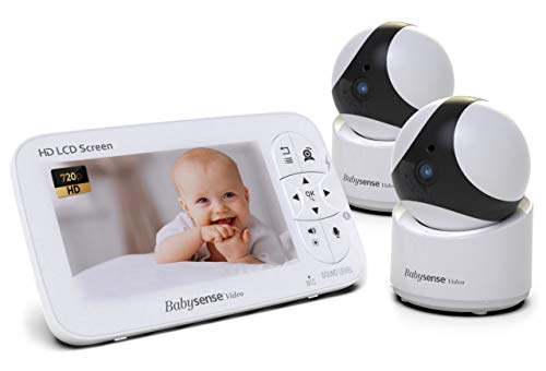 Babysense Baby Monitor - 720P 5 HD Display, Video Baby Monitor with Camera and Audio, Two HD Cameras with Remote PTZ, 960ft Range, Two-Way Audio, Zoom, Night Vision, Secure Hack-Free and Portable