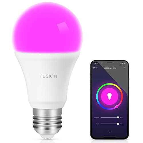 Smart Light Bulb with Soft White Light 2800k-6200k + RGBW, TECKIN A19 WiFi Multicolor LED Bulb Compatible with Phone, Google Home and (No Hub Required), 7.5w (60w Equivalent),1 Pack