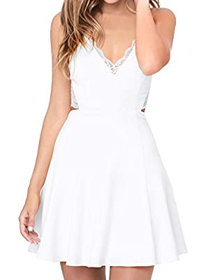 Design: Lace Trimmed Neckline, Zipper Back, Side Pockets, Fitted waist falls to a skater skirt, while a panel of sheer eyelash lace accents the open back. Material: Polyester. Comfortable and durable wear. Hand wash recommended. Occasions: Party, Pro...