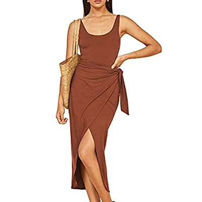 Midi wrap dress made from 88% tencel lyocell+12% spandex, a drapey jersey knit fabric. Lightweight, soft and stretch, perfect show your bodyline, add more fashion and charming. This bodycon dresshas with feminine slim fit design, tie front dress,slit...