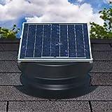 Solar Attic Fan 36-watt - Black - with 25-year Warranty - Florida Rated by Natural Light