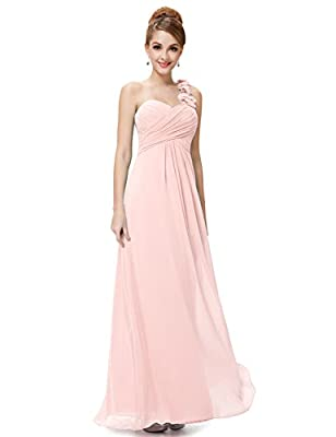 "Padded enough for ""no bra"" option Features: One shoulder, sweetheart neckline, ruffles on the bust, floor length bridesmaid dress Unremovable flowers decorated on the shoulder makes the dress flattering and gorgeous Perfect for wedding party, bridesm..."