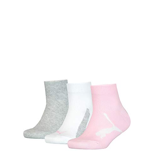 PUMA Kids' BWT Quarter Socks (3 Pack) Calzini, pink/grey, 27/30 Unisex-Bambini
