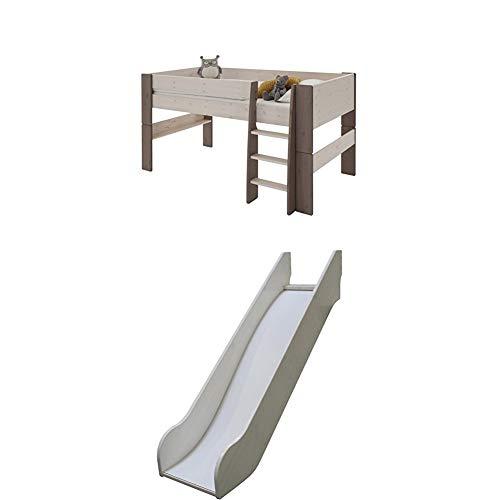 Steens For Kids Kinderbett, Halbhochbett, inkl. Rutsche, Absturzsicherung und Leiter, Liegefläche 90 x 200 cm, Kiefer massiv, weiss/ grau