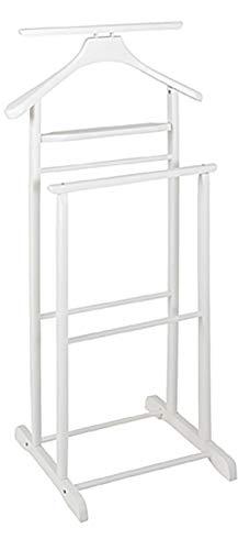 Haku Möbel Herrendiener - Massivholz mit Kleiderbügel in weiß, Höhe 102cm