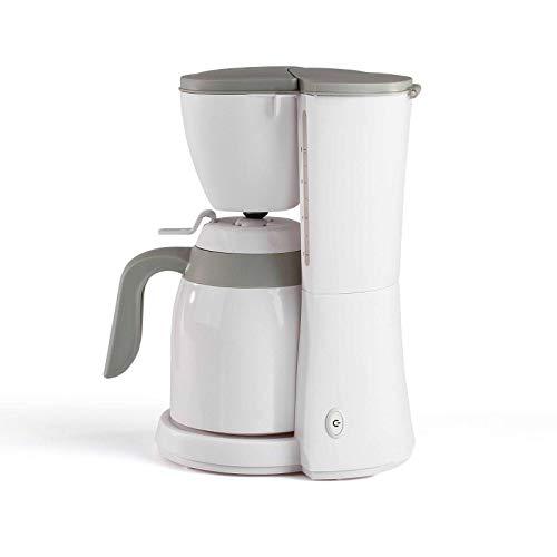 Kaffeemaschine mit Thermoskanne Weiß für 12 Tassen Isolierkanne (Kaffeeautomat, Filterkaffee, Automatische Abschaltung, Wasserstandsanzeige)