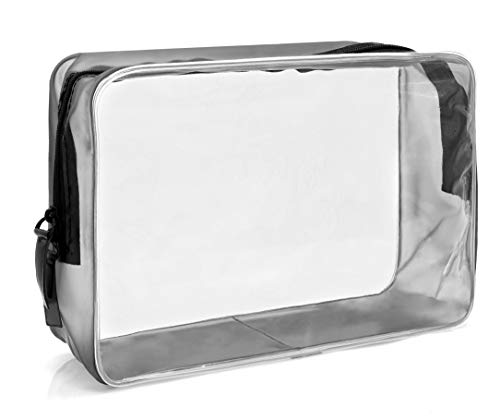 MyGadget Busta Trasparente da Viaggio per Aereo - Beauty Case Waterproof con Cerniera - Pouch da...